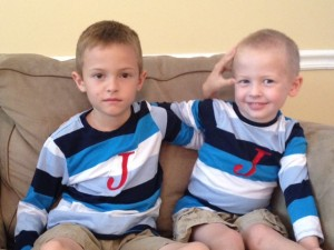 jacob (7) & jordan (4, post lice-induced head shave)