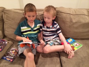 Jacob reading to Jordan in our new home