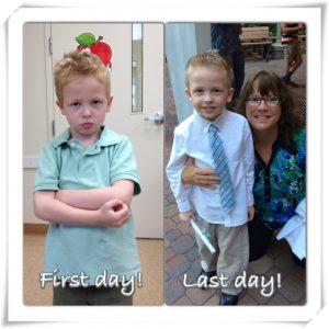 Jordan's first day of preschool vs. preschool graduation!