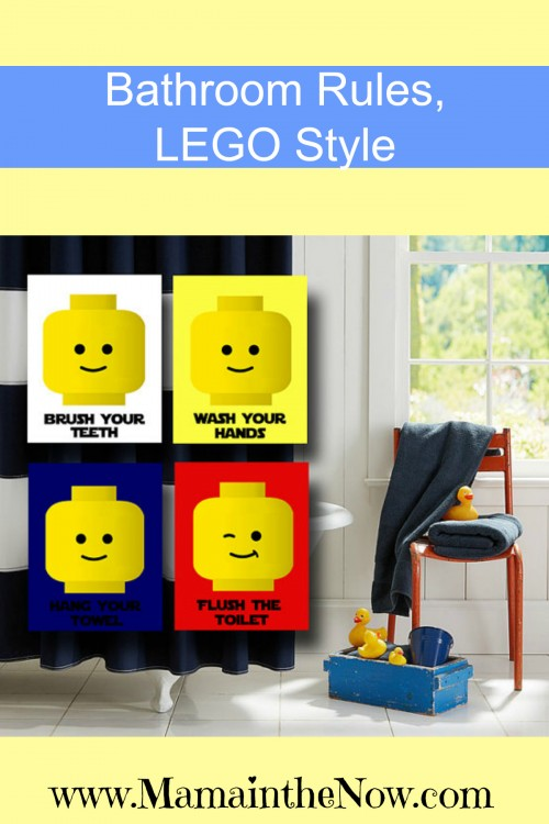 Bathroom Rules - LEGO Style. These are perfect for a LEGO themed bathroom