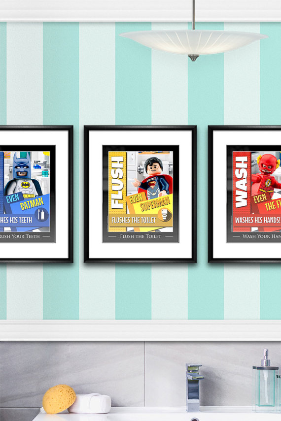 Superhero LEGO bathroom signs remind the kids to flush, wash and brush. Perfect for a LEGO bathroom