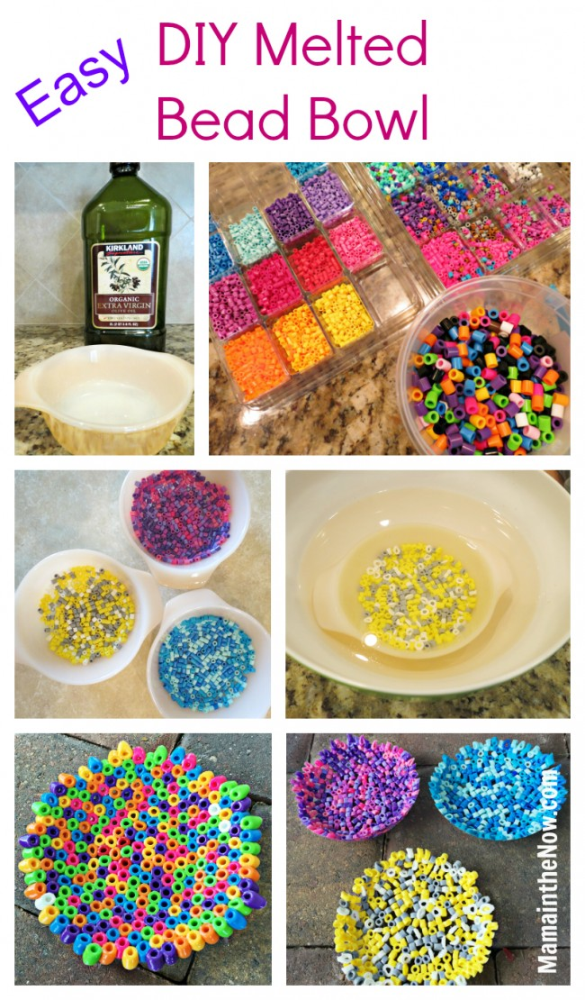 DIY Melted Bead Bowl with Perler Fuse Beads by @MamaintheNow