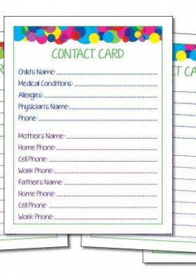 Contact Card, fillable. Perfect to leave at a playdate, give to teacher, babysitter and friends