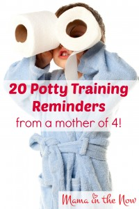 Potty training reminders from a mother of four! These words of encouragement will help you through the frustrating parts of the potty training journey! # 11 is especially important!