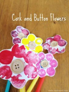 Beautiful flowers made from corks and buttons.