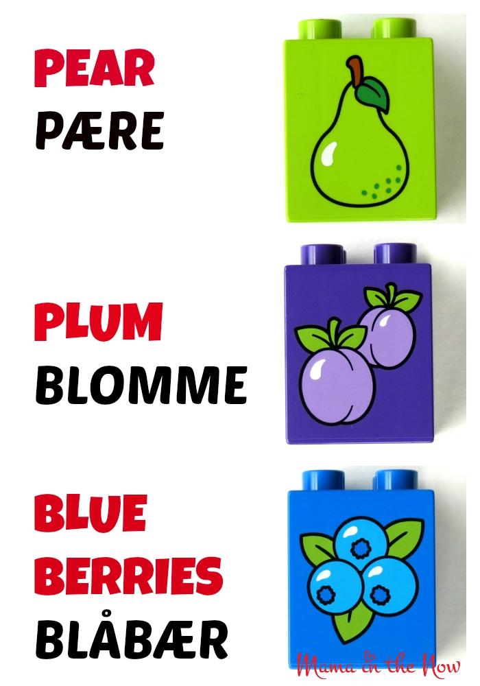 DUPLO Danish English Fruit Flash Card