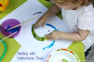 Painting with watermelon rinds! Genius craft idea!