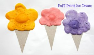 DIY puff paint ice cream cones. Awesome craft idea for a birthday party or slumber party