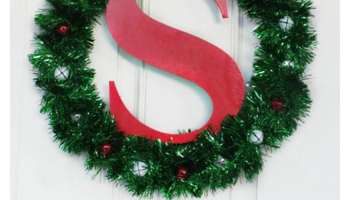 DIY Monogram Christmas Wreath Craft