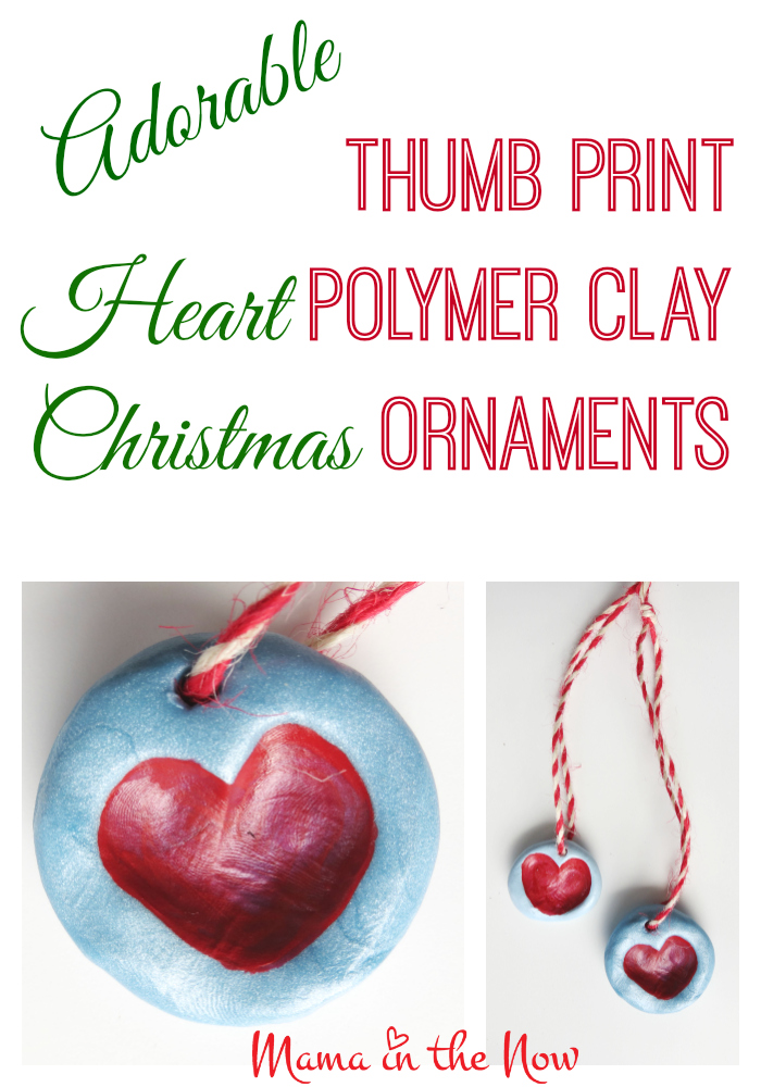 Thumb print heart polymer clay Christmas ornament. DIY craft project to make the most adorable thumb print heart ornament, perfect as a gift or decoration for Valentine's Day - as well as Christmas.