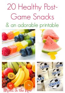 20 healthy post-game snacks for soccer moms. These snack ideas and the printable are sure to give you inspiration for next time you are called upon to bring snacks after the big game.