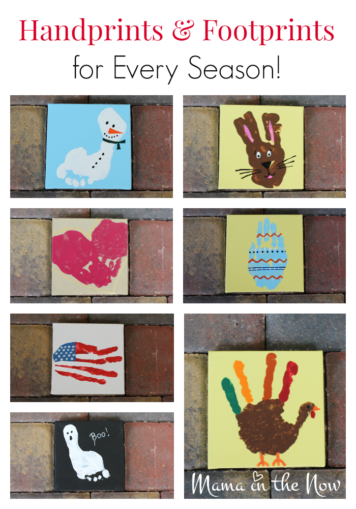 Handprints and footprints for every season. Fun and easy craft inspiration to make keepsakes with your baby, toddler - even older kids.