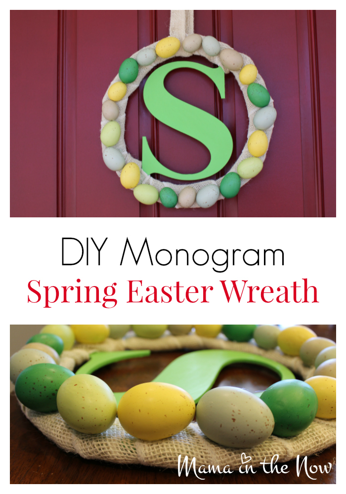 DIY Monogram Spring Easter wreath. This colorful wreath decorated with burlap and Easter eggs is the perfect springtime front door statement piece.
