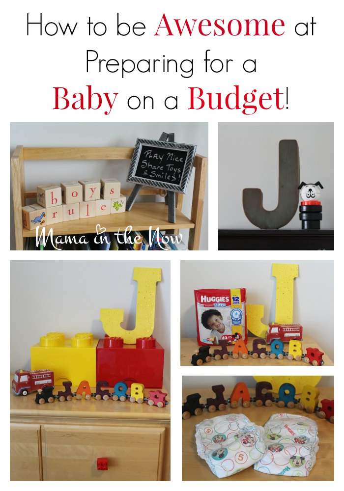 How to be awesome at preparing for a baby on a budget. Money saving tips, frugal ideas and ways to cut costs from a mother of four!