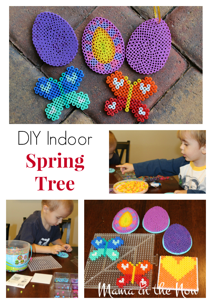 DIY an indoor spring tree with beautiful family pictures from PhotoLove and melting Perler beads. This statement piece is a great way to display family pictures.