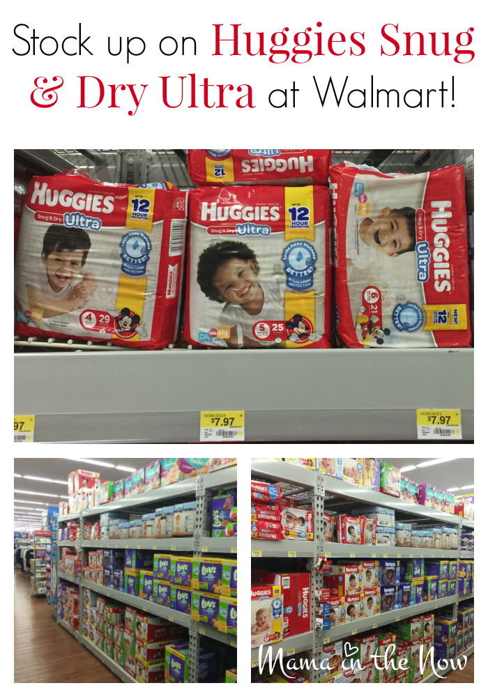 Stock up on Huggies Snug & Dry Ultra at Walmart! Their fully stocked baby section is a one stop shop!