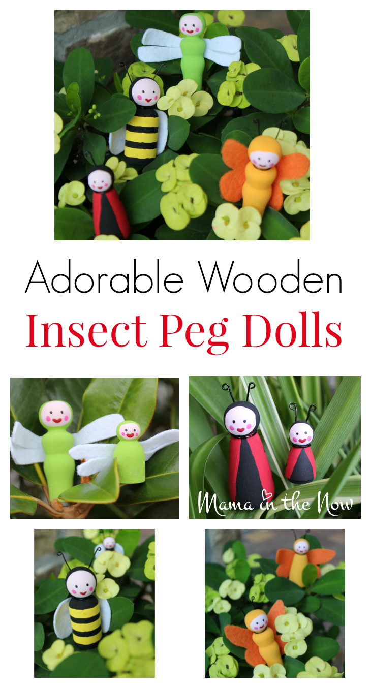 How to make the most adorable wooden insect peg dolls. Great craft for kids of all ages.