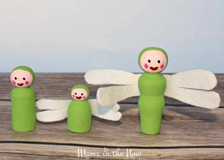 How to make the most adorable wooden insect peg dolls. Great craft for kids of all ages. Wooden dragon fly peg doll instructions.