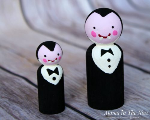 How to make friendly Halloween Dracula wooden peg dolls. Adorable not-so-spooky kid-friendly Halloween decorations.