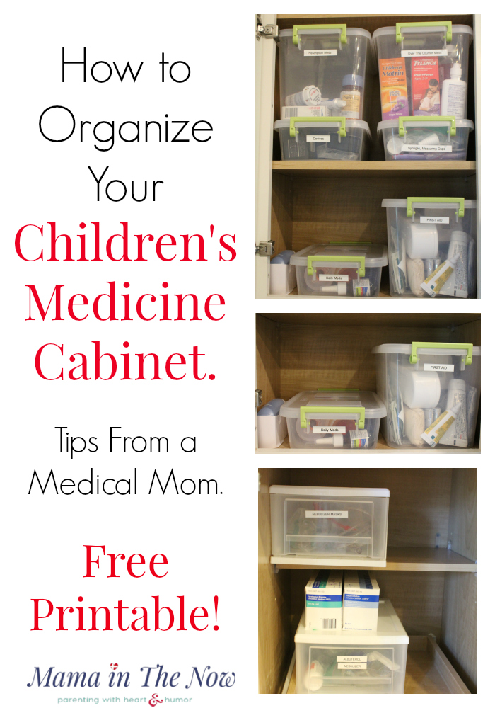 How to organize your children's medicine cabinet. Tips, tricks and hacks from a medical mom of four kids. Free printable to keep track of your child's medication dosages.