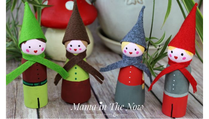 Wooden Peg Doll Christmas Elves and Gnomes