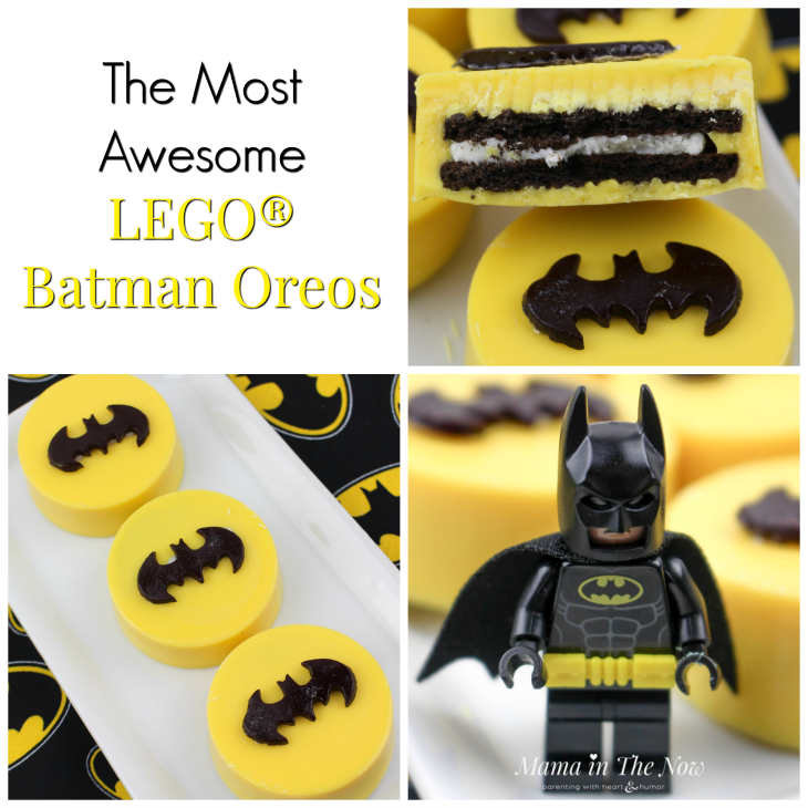 Batman oreos are the perfect party snack and birthday decoration. When your child wants a LEGO Batman party, these cookies will be an instant hit! Easy craft, frugal party decoration.