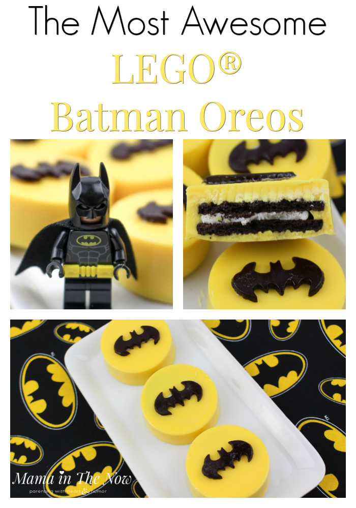 LEGO Batman oreos, the perfect snack at a Batman or LEGO birthday party. Delicious oreos and Batman decorations. Motherhood win.