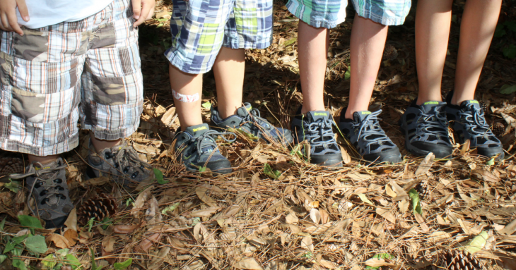 Our four kids in their Northside hiking shoes.