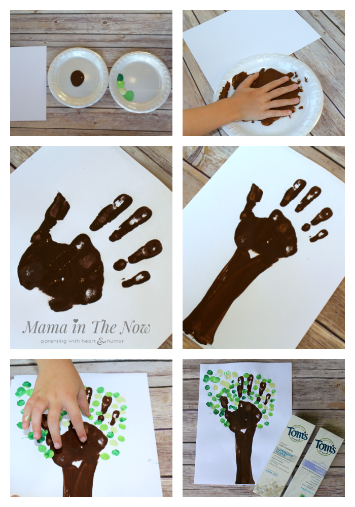 Handprint tree craft turns into an upcycled piggy bank, using a Tom's of Maine toothpaste box. Great for tweens and teens.
