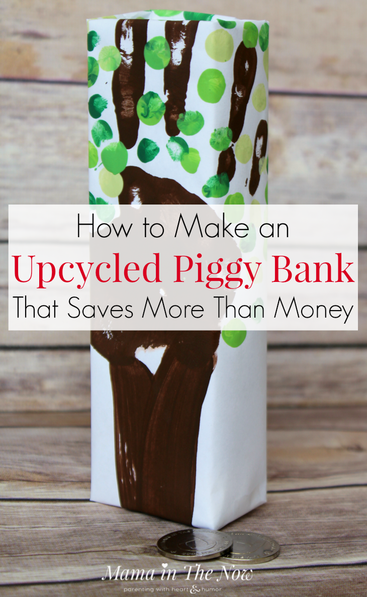 Easy upcycled craft for kids of all ages, even tweens and teens. Celebrate Earth Day with this piggy bank craft. DIY handprint piggy bank.