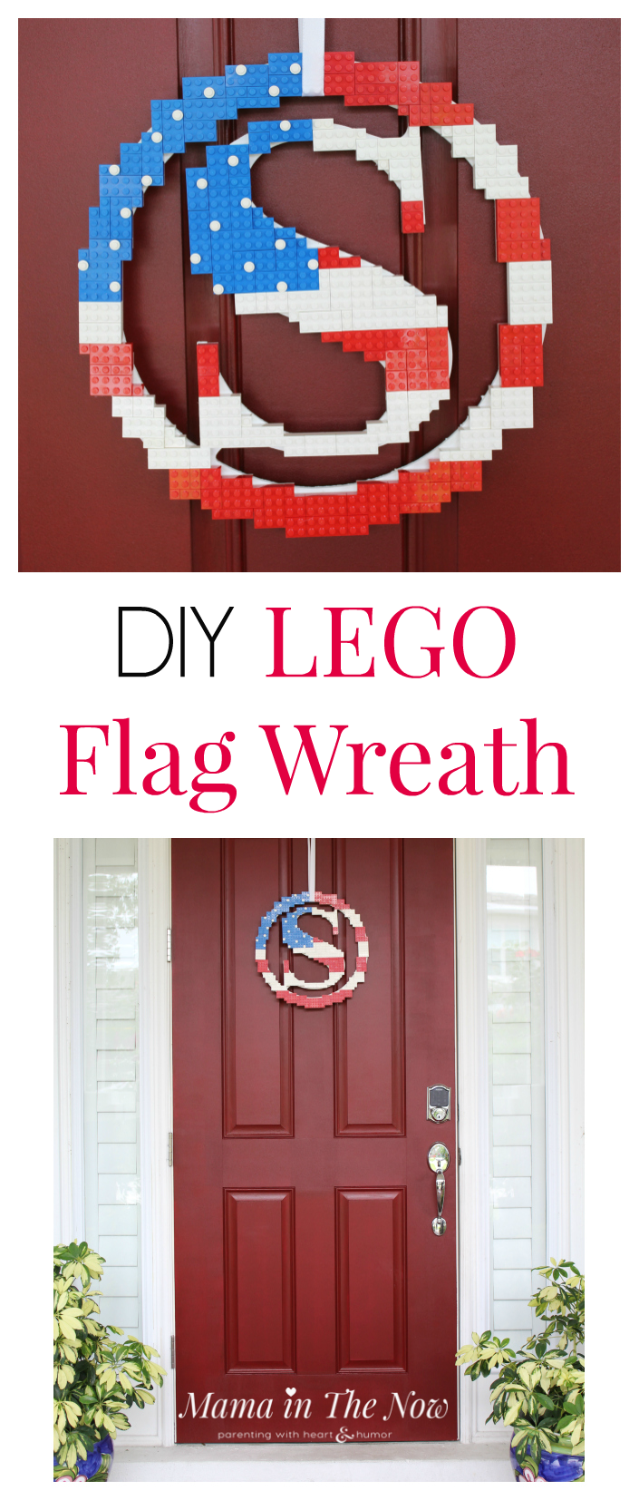Building instructions to DIY a LEGO wreath flag. Perfect for Memorial Day, 4th of July, summer door wreath or anytime you feel patriotic and want to wave your LEGO flag.