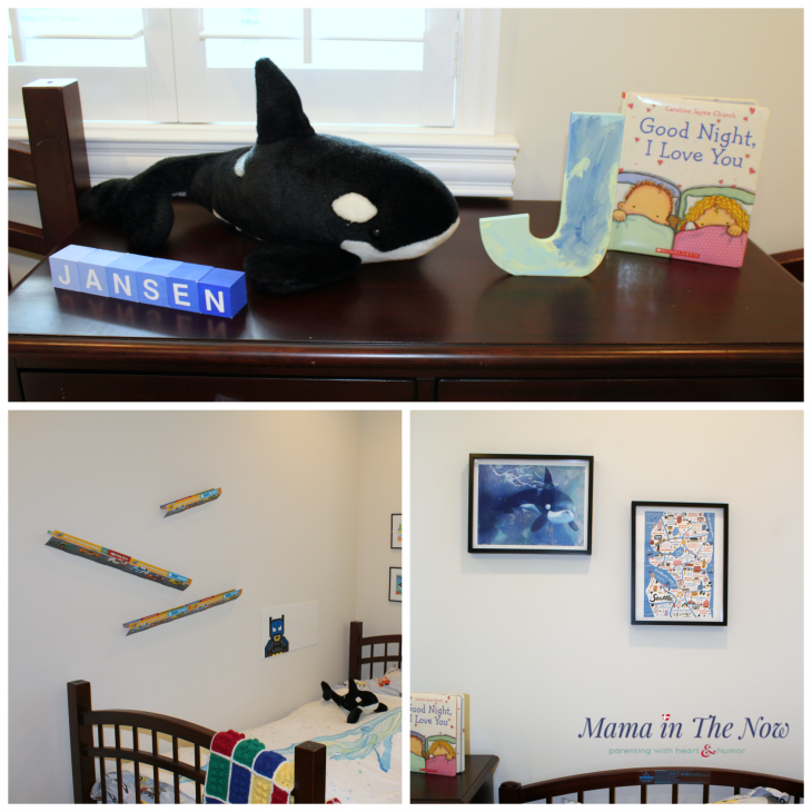 Fun LEGO and whale inspired kids room. Art work from the Pacific North West, celebrating Seattle and the beautiful whales.
