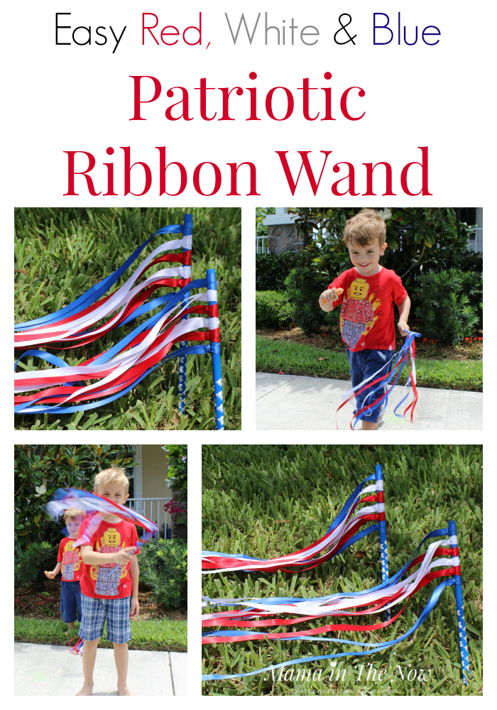 Easy DIY red, white and blue patriotic ribbon wands. They are so easy to make that a preschooler can make them! Preschool activity. Perfect for the 4th of July, Memorial Day, Veterans Day or any other parade or reason to wave a ribbon wand!