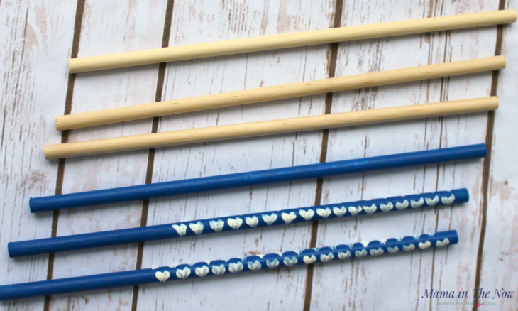 Wood dowels from Woodpecker Crafts are perfect for these patriotic ribbon wands.