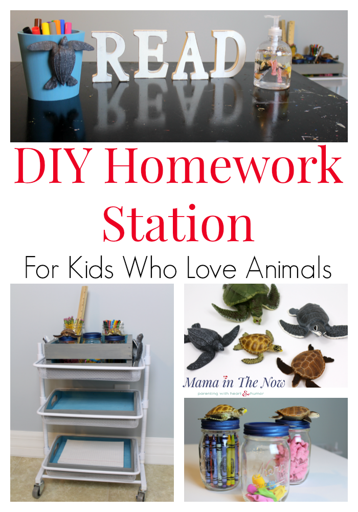 DIY homework station for the little animal-lover in your life. Having school supplies handy increases homework productivity. Fill the homework station with math cubes, counters and manipulatives for math to help with common core math problems.