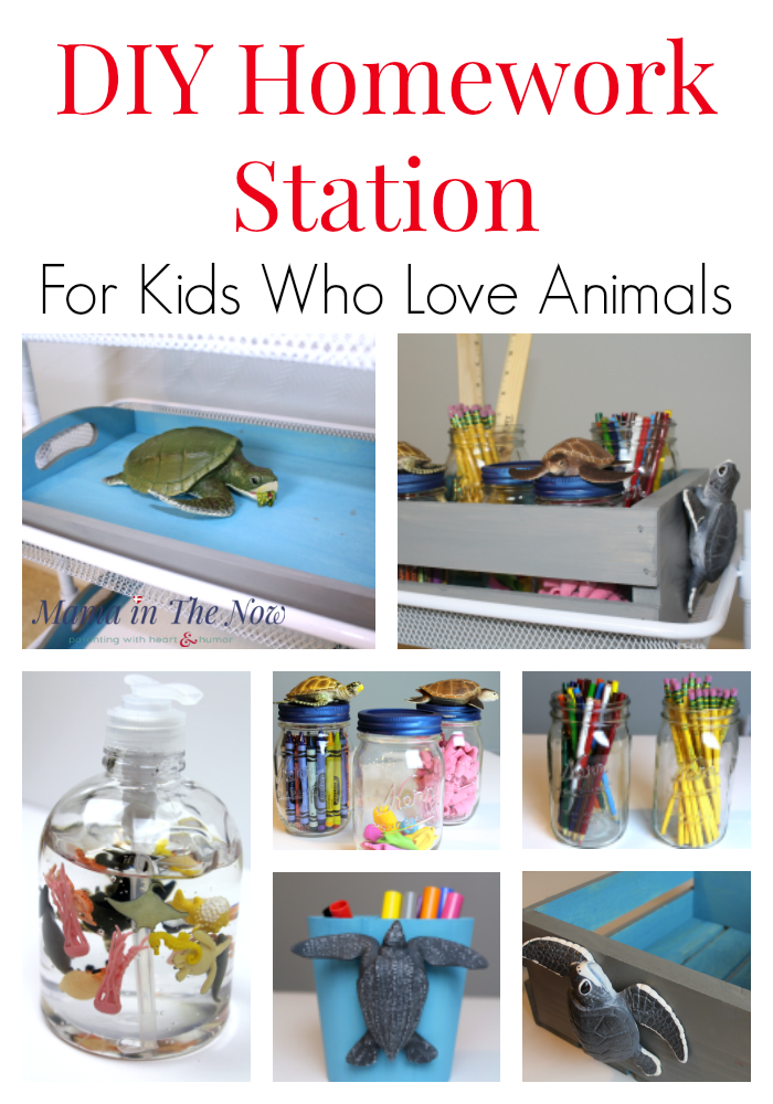 DIY a beautiful homework station with a fun animal-theme using animals from Safari Ltd. Cut down on the time it takes to do homework, increase productivity, enjoy homework without tears with this school supply station.