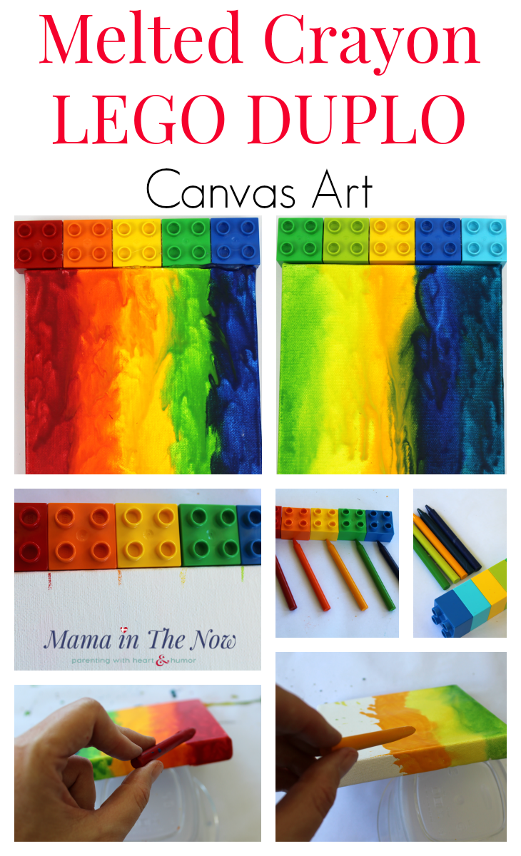 Melted crayon art using LEGO DUPLO on canvas. This colorful rainbow art is great for a kid's room, baby's nursery or a baby shower gift. Fun handmade Christmas present for grandparents. Melting crayons on canvas, colorful LEGO DUPLO wall art. #LEGO #Crayons