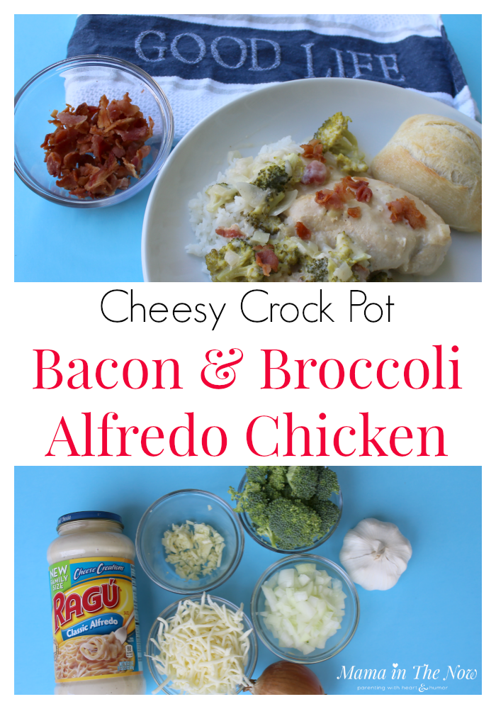 Easy and delicious Cheesy Crock Pot Bacon and Broccoli Alfredo Chicken - a savory dish even the kids will love... because, BACON! They won't even notice the broccoli!