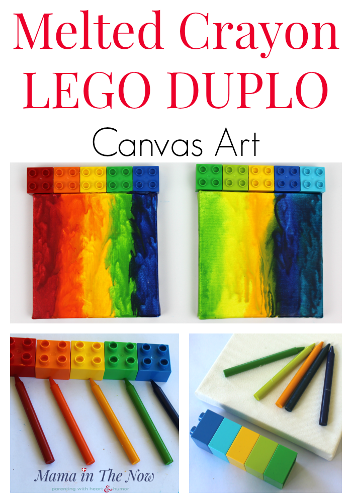 Melted crayon art using LEGO DUPLO on canvas. This colorful rainbow art is great for a kid's room, baby's nursery or a baby shower gift. Fun handmade Christmas present for grandparents. Melting crayons on canvas, colorful LEGO DUPLO wall art. #LEGO #MeltedCrayons